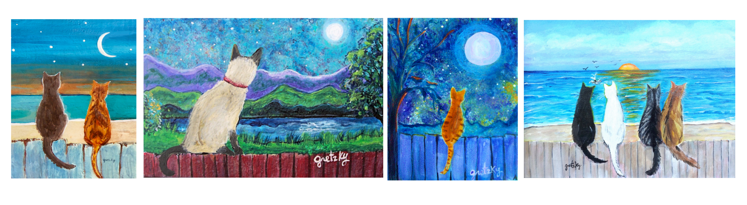 Paintings of Cats on Fences