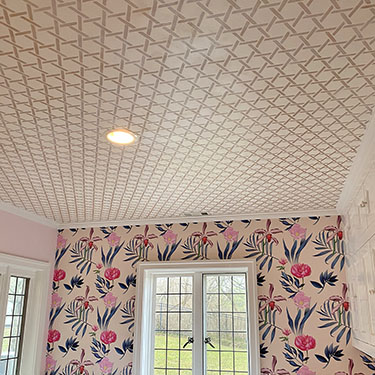 pearl gold stenciled ceiling
