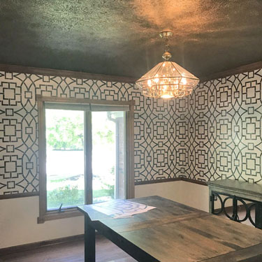 Metallic Pearl Stencil and Brass Ceiling