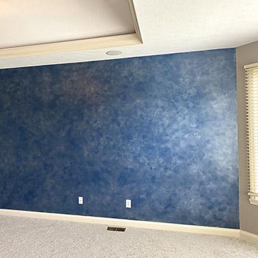 blue silver colorwash wall