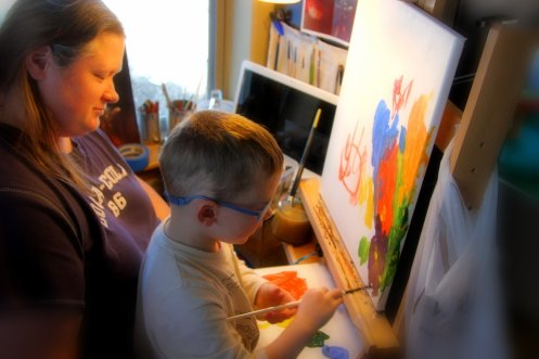 Tyler Painting with Momma 2014-02-23