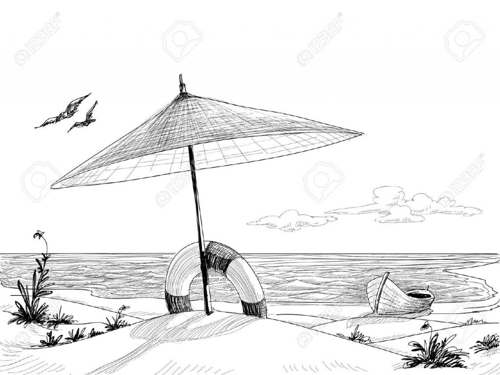 Beach Cartoon Drawing At Paintingvalley