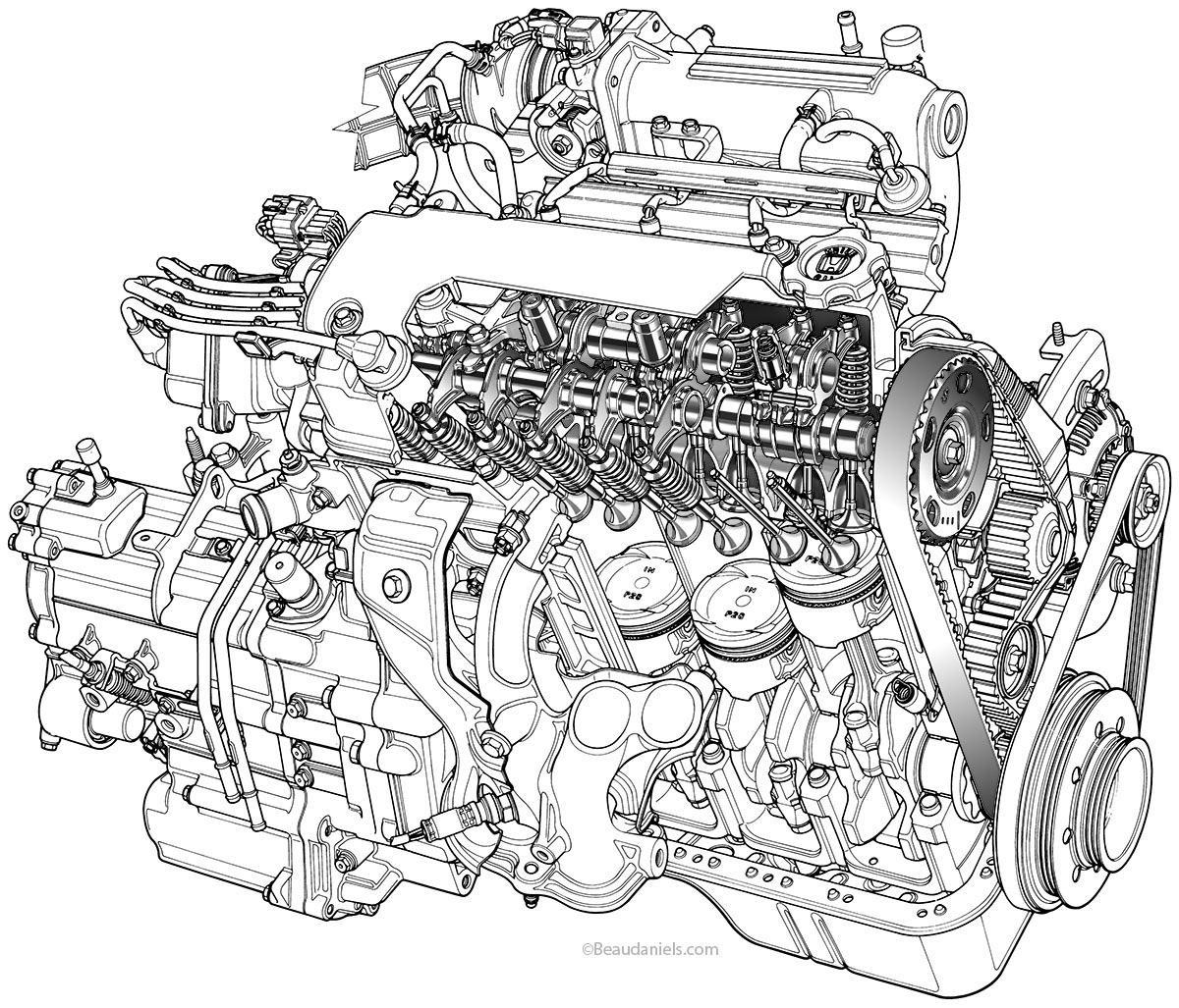 Car Engine Drawing At Paintingvalley