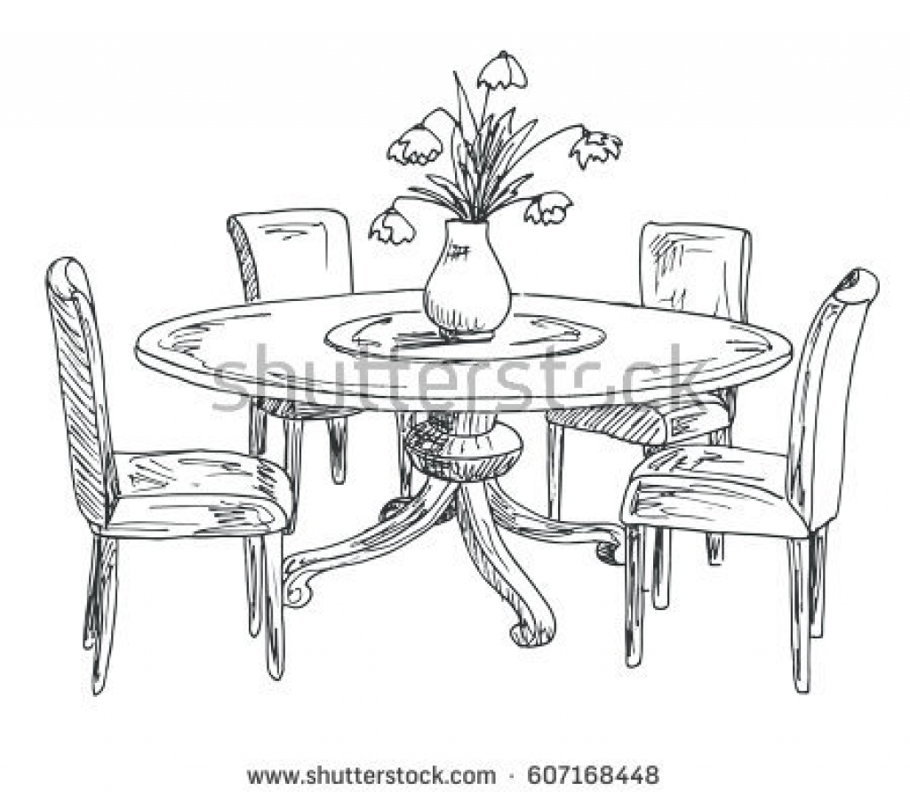 Dining Table Drawing At Paintingvalley