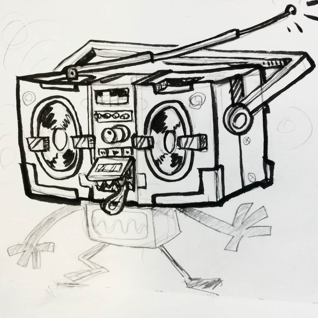 Boombox Sketch At Paintingvalley