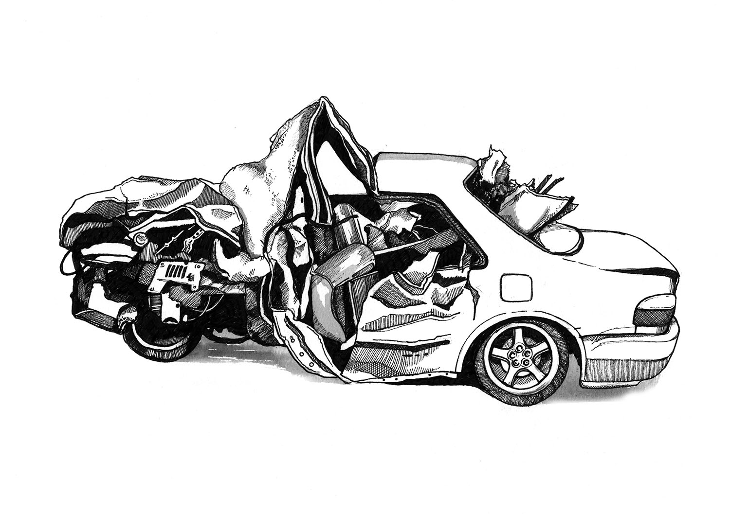 Car Accident Sketch At Paintingvalley