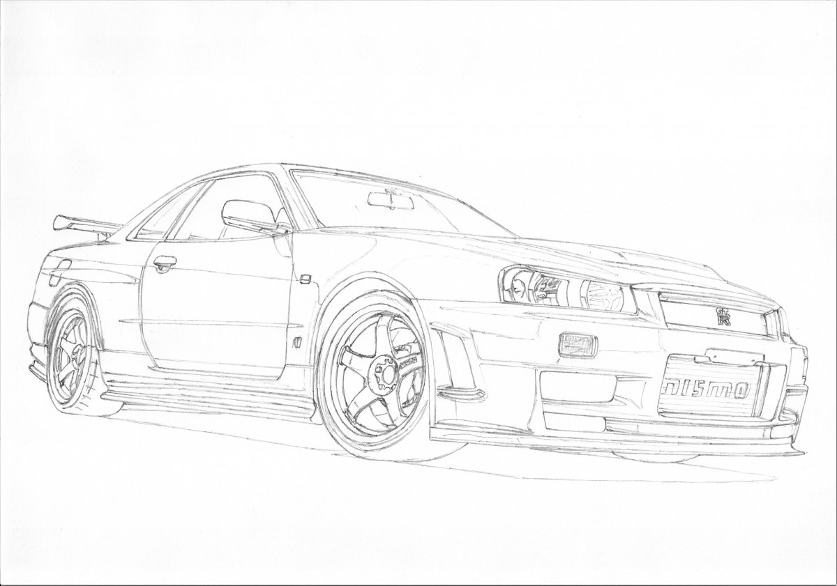 Nissan Gtr Sketch At Paintingvalley