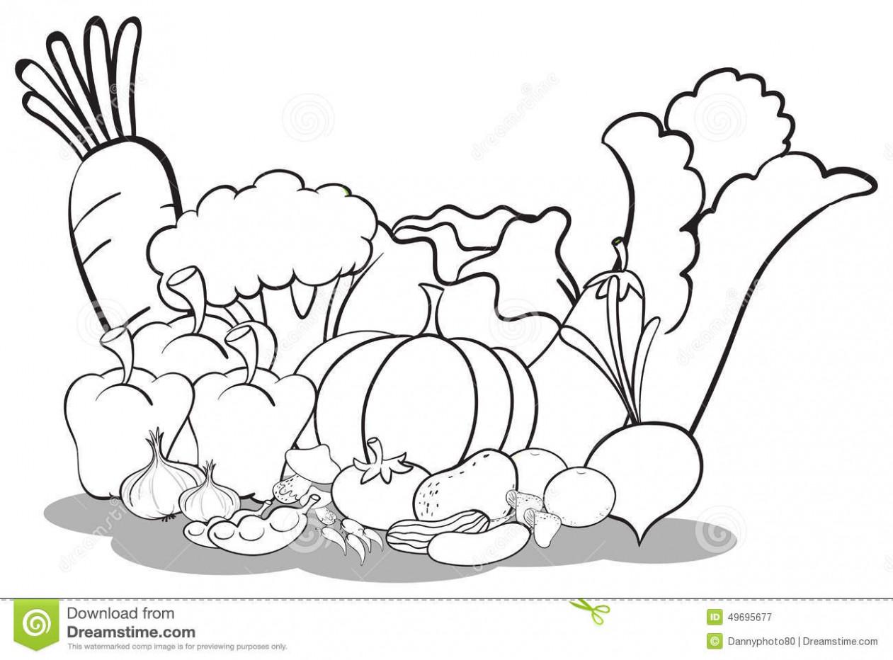 Vegetable Basket Sketch At Paintingvalley
