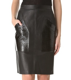 ALEXANDER WANG CROC POCKET LEATHER PENCIL SKIRT - www.shopbop.com
