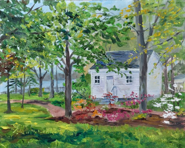 THIRD Place with 25 votes Azalea Heaven, Park House, Amherstburg, On.8x10 oil on Ampersand Museum panel. $275. framed.