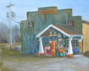 "Corner Gas"" 8x10 oil on Ampersand gessobord. $275. $25 from the sale of this painting will go to CTMHV."