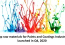 Top raw materials for Paints and Coatings industry launched in Q4, 2020
