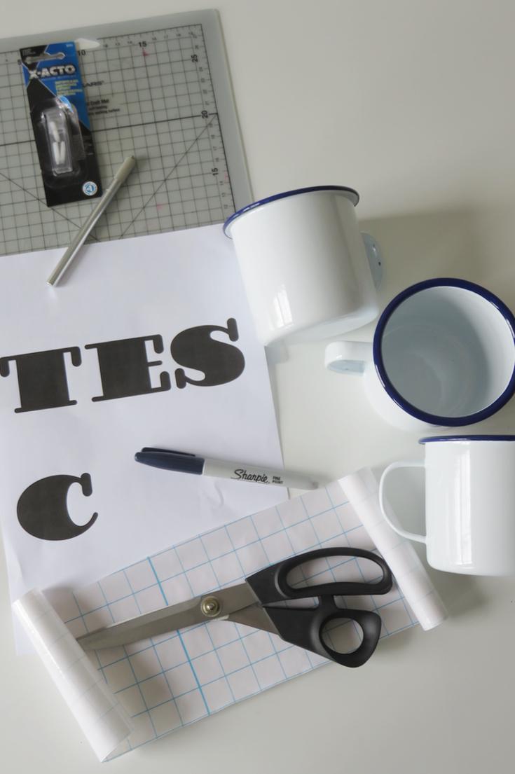 Sharpie Decorated Monogram  Personalised Mugs