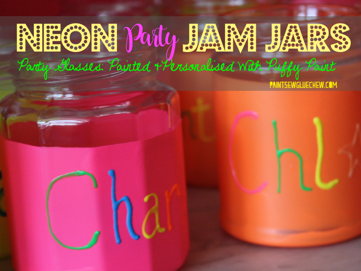 Neon Party Jam Jars Glasses Personalised with Puffy Paint