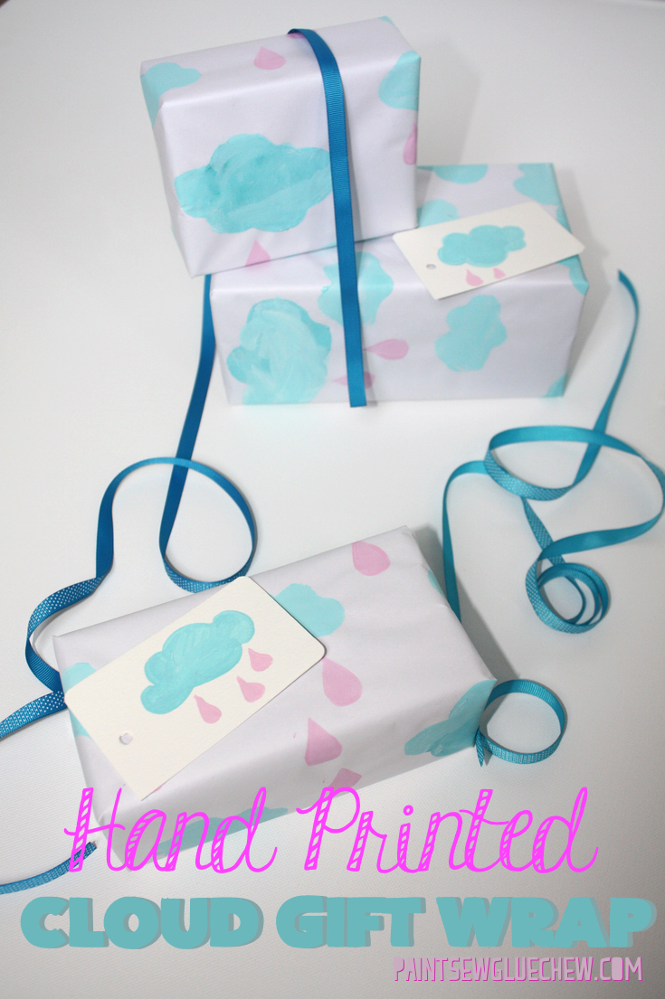 DIY Hand Stamped Cloud Gift Wrap