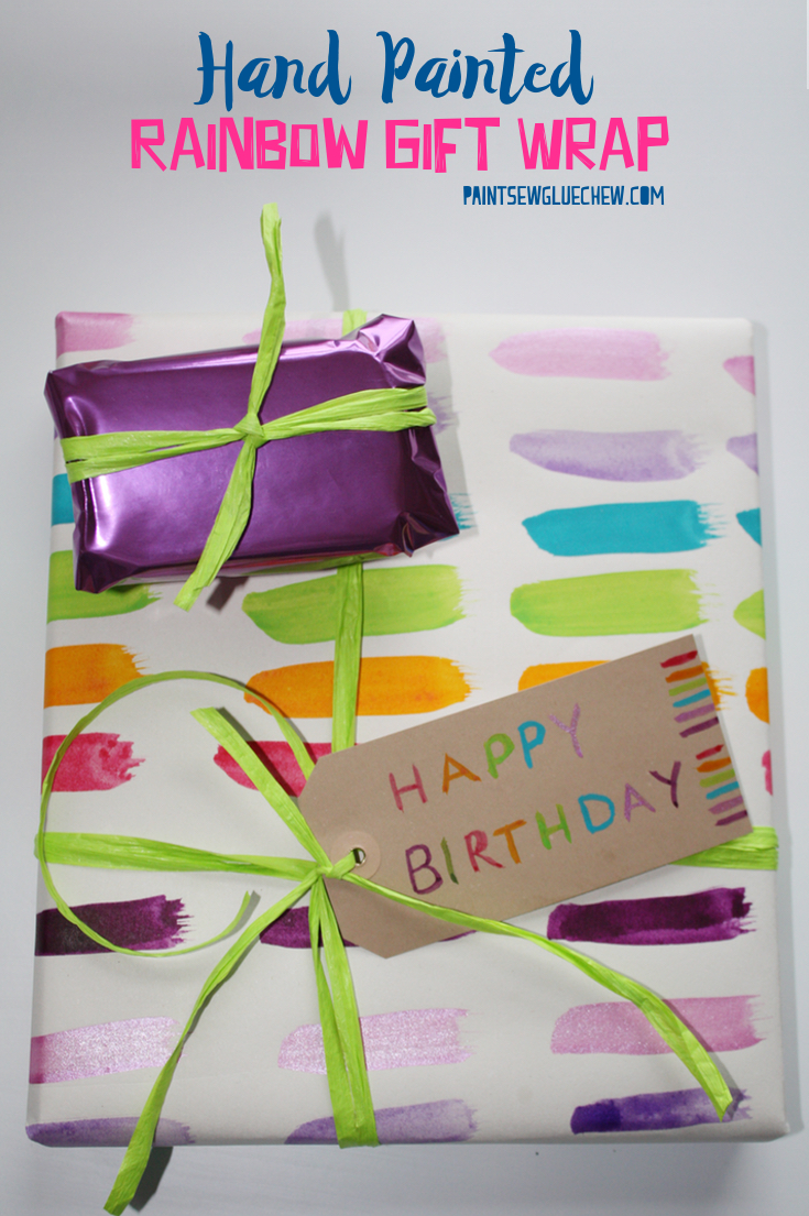 Hand painted rainbow Gift Wrap