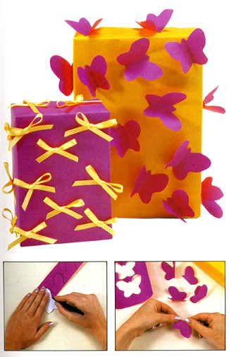 Bright butterfly Giftwrap DIY