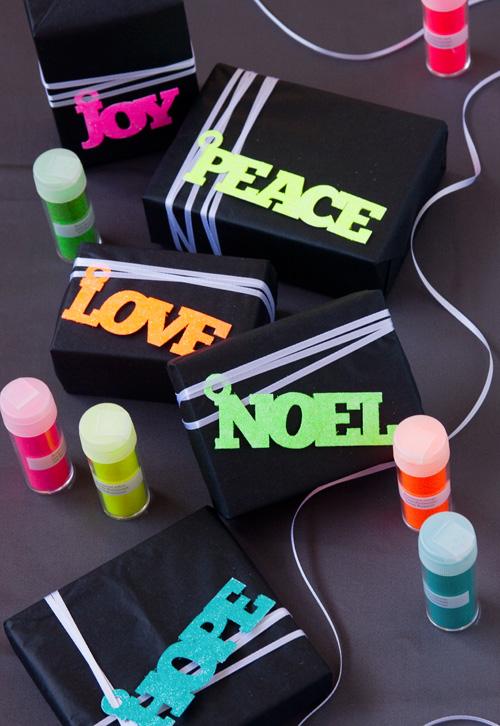 DIY Neon Glitter Gift Wrap
