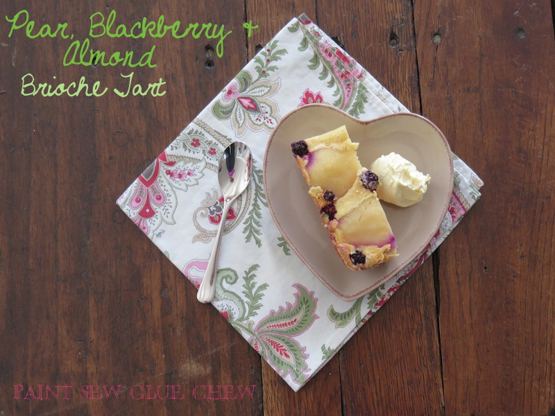 Pear Blackberry and Brioche tart