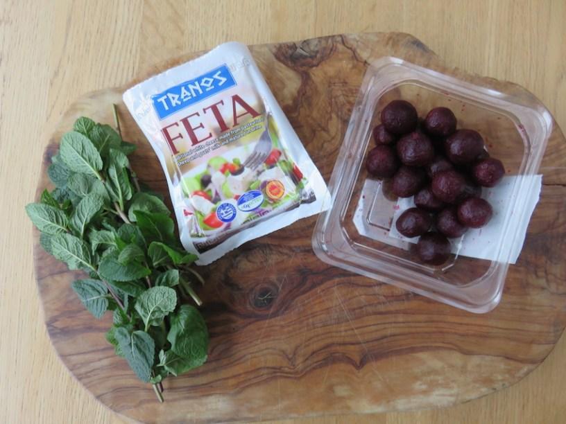 beetroot feta and mint nibbles