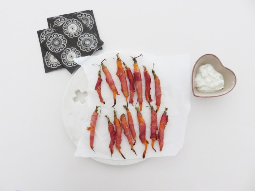 Carrot and parma ham nibbles