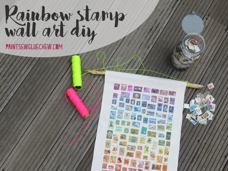 Postage stamps on canvas