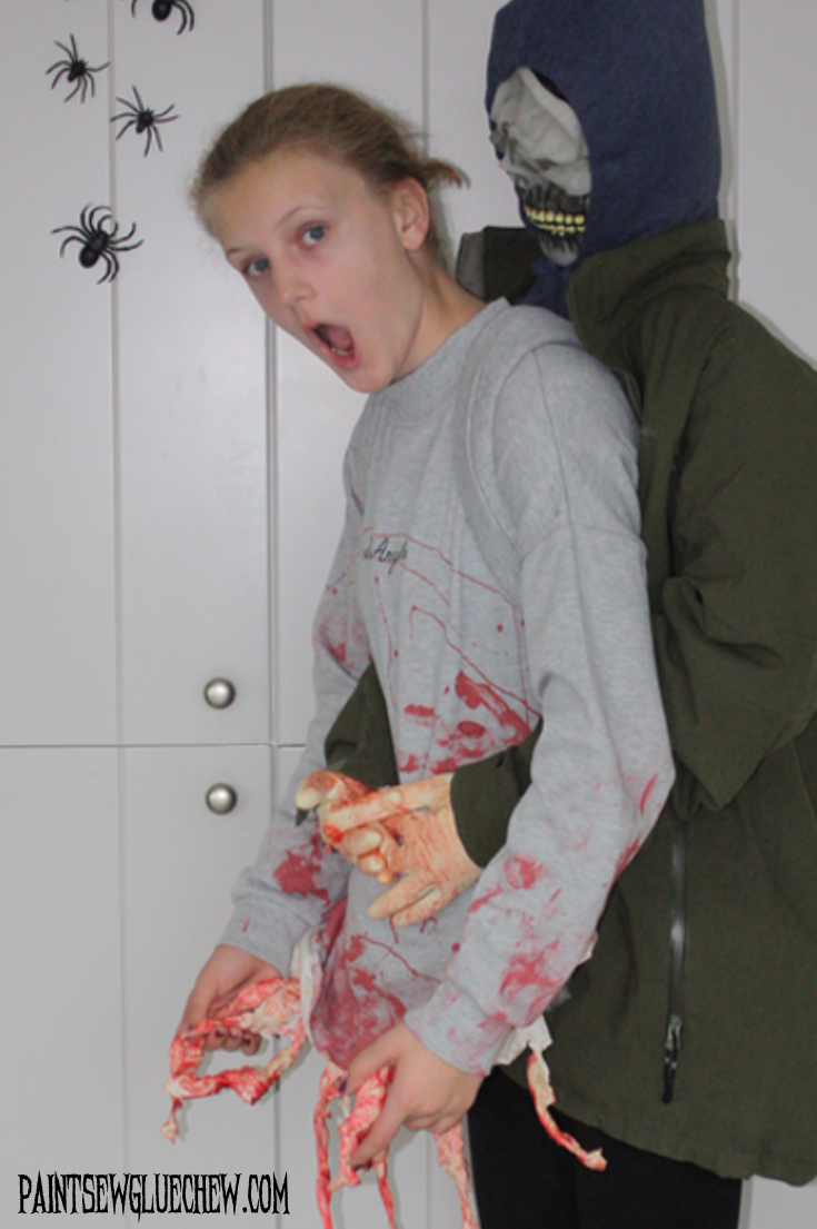 girl and zombie halloween costume