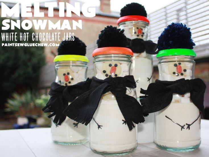 Melting Snowman White Hot Chocolate Jars