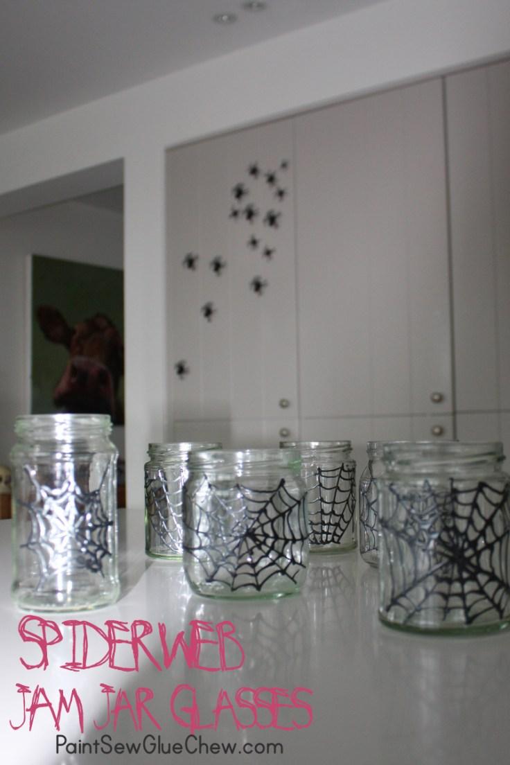 Halloween Spider web jam jar glasses