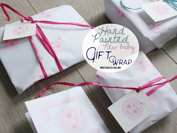 Hand painted baby gift wrap