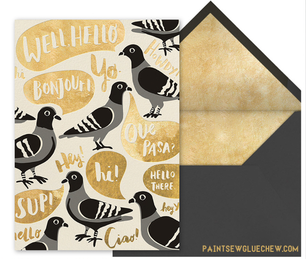 Pigeon design in gold foil