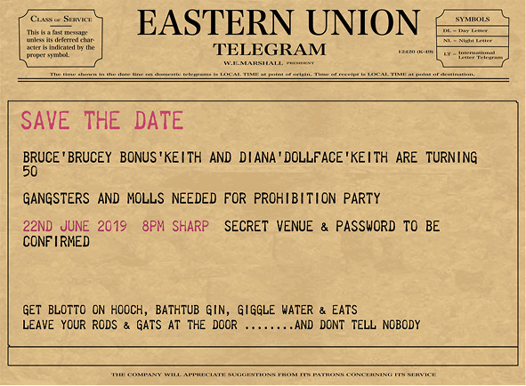 Prohibition party save the date telegram