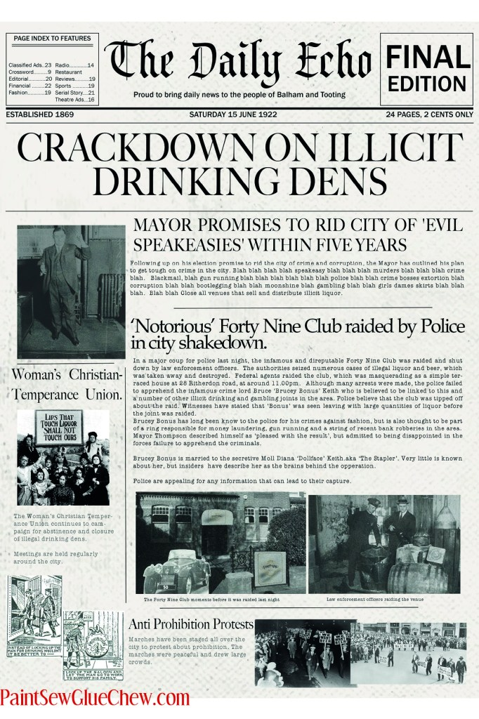 1920 newspaper with speakeasy stories