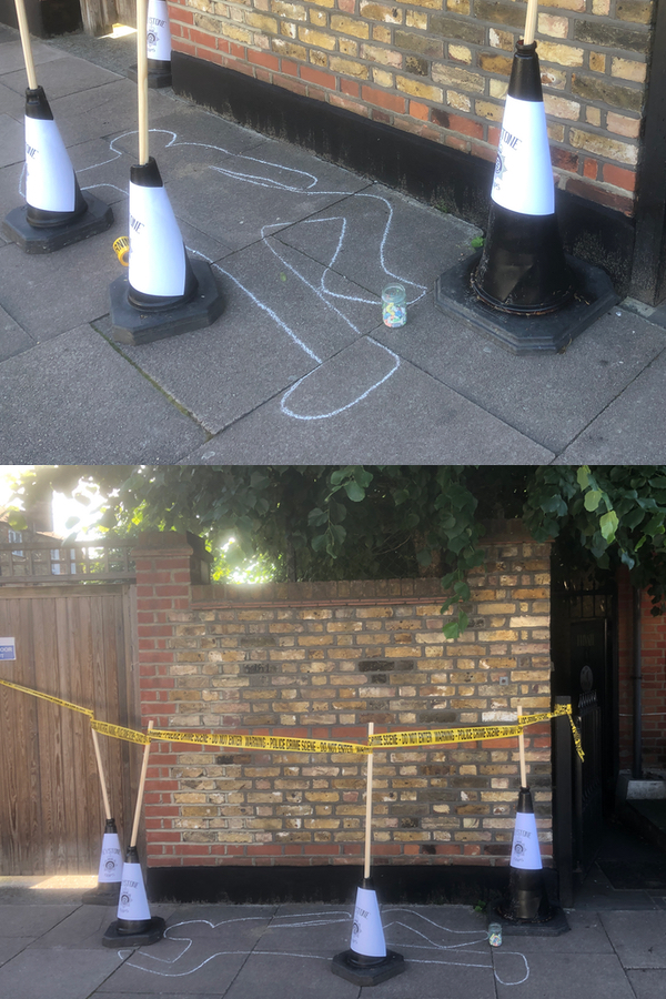 Chalk outline for dead body