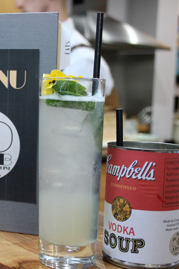 Campbells soup can cocktails at speak easy party