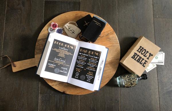 menu hidden in a book at speak easy party