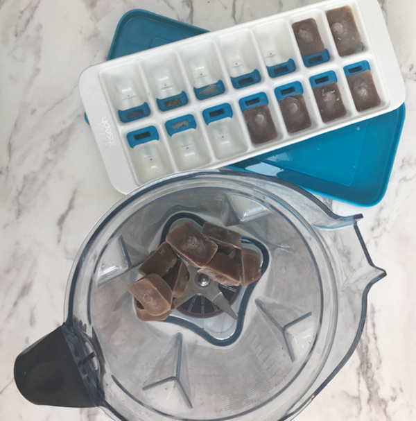 Frozen Chocolate milk in a blender