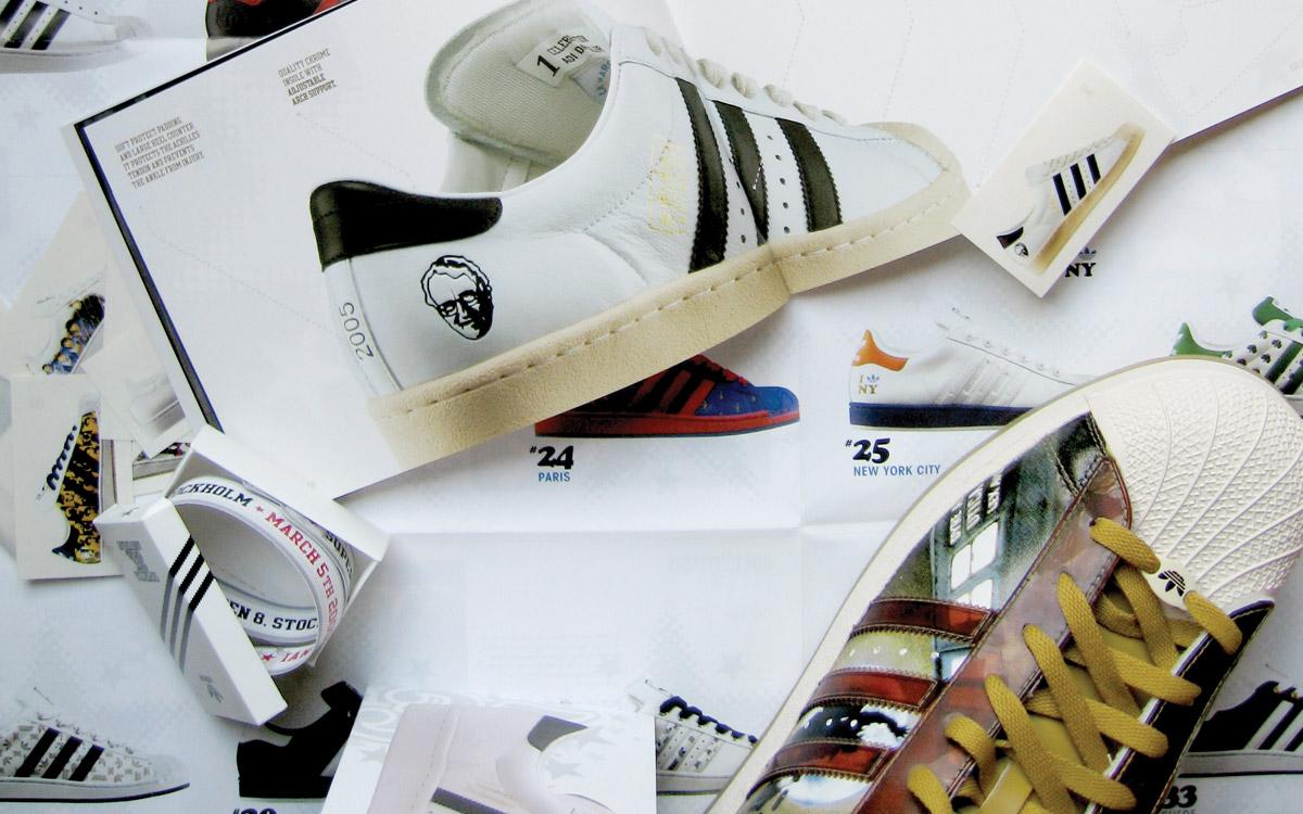 Adidas superstar 35th anniversary sticker book design