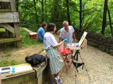 Discussing my painting technique with a curious hiker at the Big Clifty overlook.