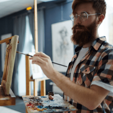 virtual painting instructor teaching on video conference