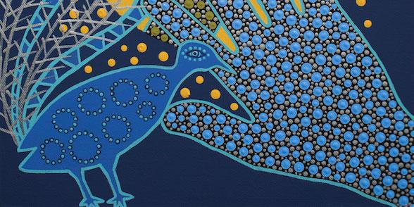 Painting of lyrebird and hand