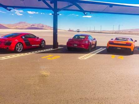 A photo of exotic cars at Speedvegas.