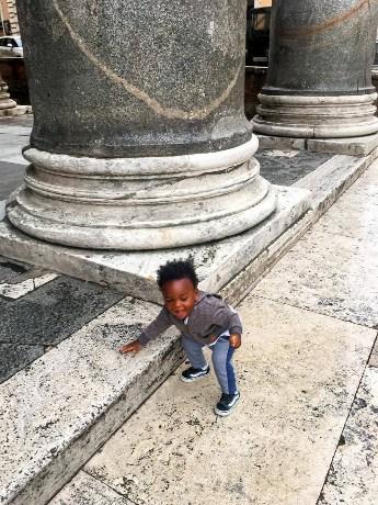 Toddler playing at Pantheon in Rome