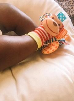 baby in sensory socks