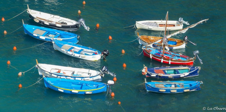 Fishing boats cover the harbor waters.