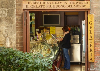 The only patron at The Best Ice Cream in the World shop. Perhaps she grew tired of waiting in line at Gelateria Dondoli.