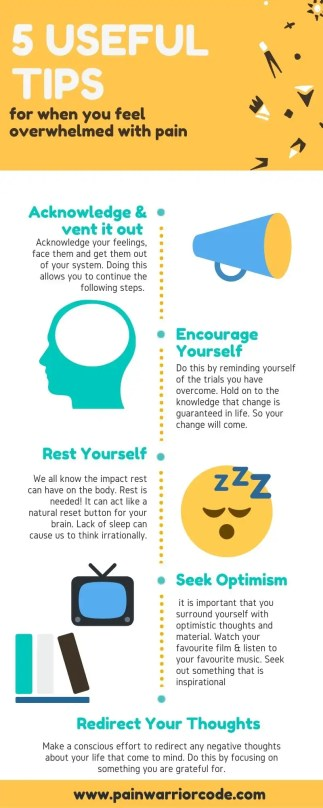 Infographic of the 5 Tips for when you feel overwhelmed with pain