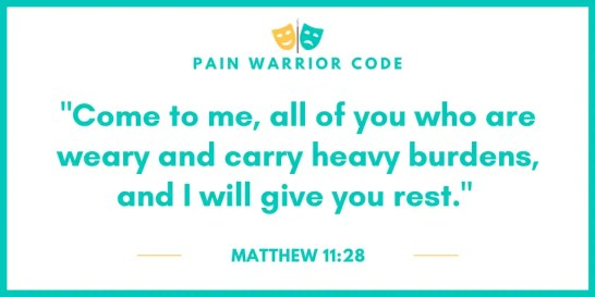 """Graphic that reads: """"Come to me, all of you who are weary and carry heavy burdens, and I will give you rest"""", Matthew 11:28"""