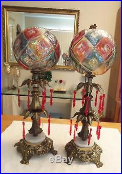 Vintage Pair Of Art Deco Table Lamps Brass Amp Marble Glass