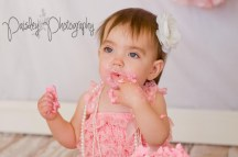 Pink Lace and Pearls - Baby Girl Turns 1 - Pink Cake Smash Photos
